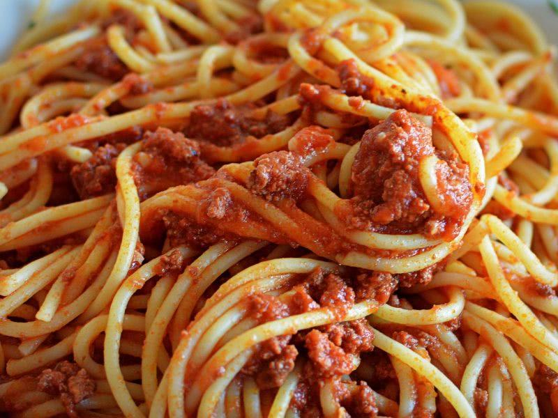 Bild scharfe Spaghetti Bolognese